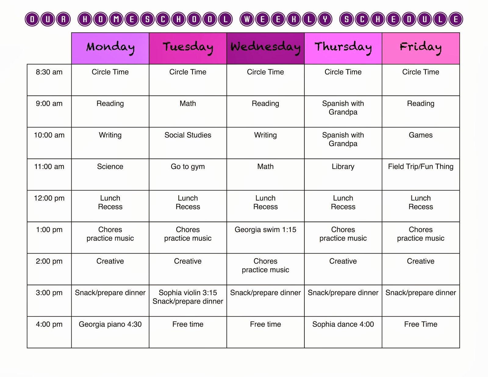 Homeschool Daily Schedule Template Elegant A Marmie Life Homeschool Weekly Schedule and A Free Template
