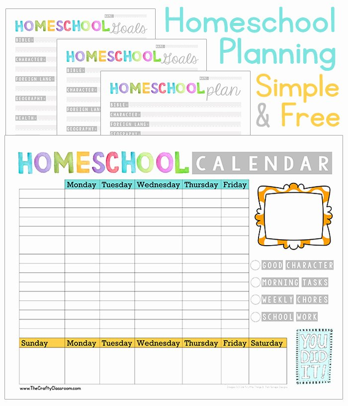 Homeschool Daily Schedule Template Elegant Free Homeschool Planning Printables the Crafty Classroom