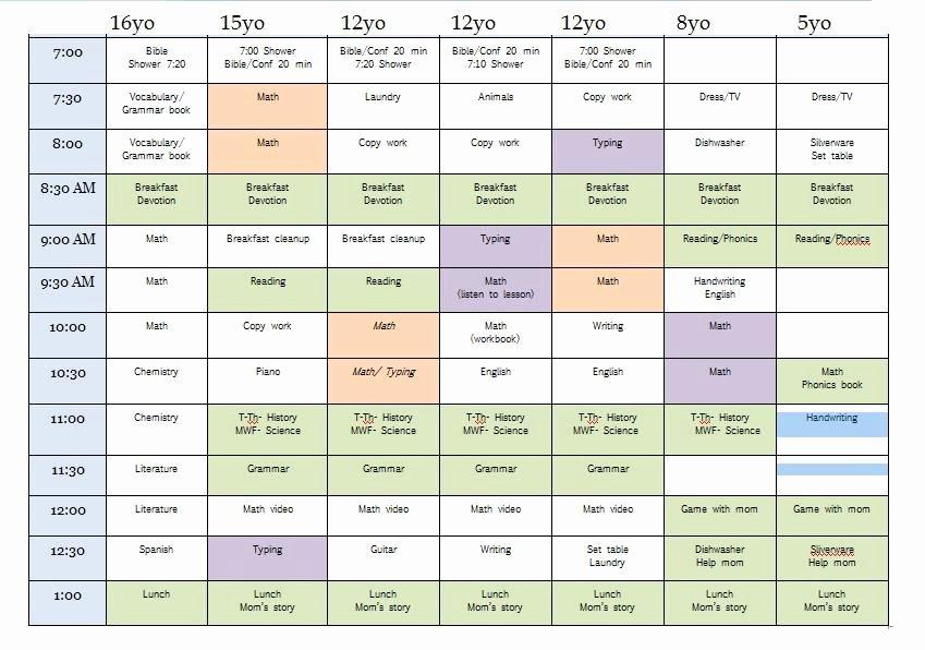 Homeschool Daily Schedule Template Elegant Sample Homeschool Schedule for Multiple Children
