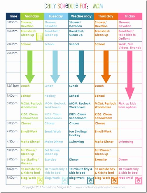 Homeschool Daily Schedule Template Fresh A Homeschooling Mom's Daily Schedule Confessions Of A