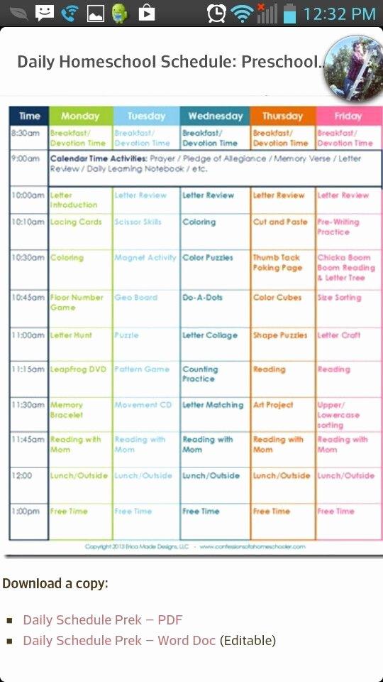 Homeschool Daily Schedule Template Fresh Homeschool Schedule