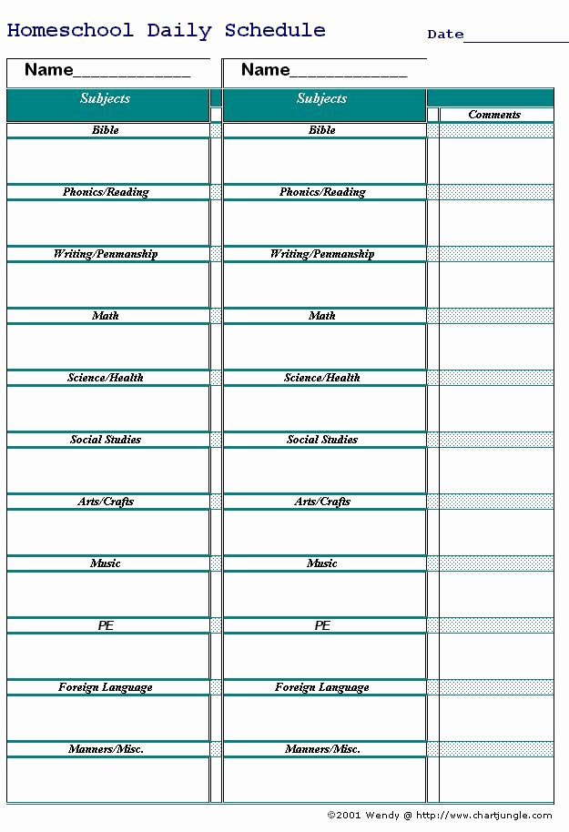 Homeschool Daily Schedule Template Inspirational 193 Best Images About Education Binder Printables On