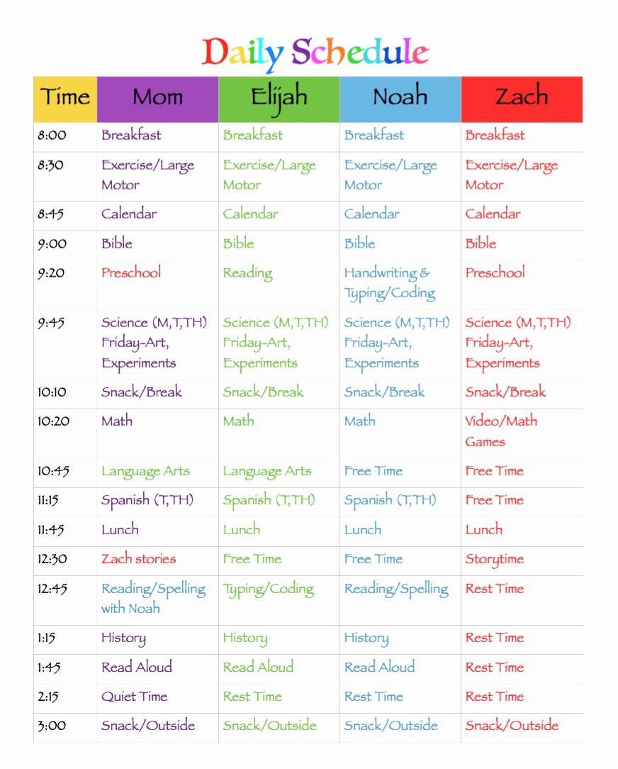 "Homeschool Daily Schedule Template New Search Results for ""2015 16 Calendar Template"" – Calendar 2015"