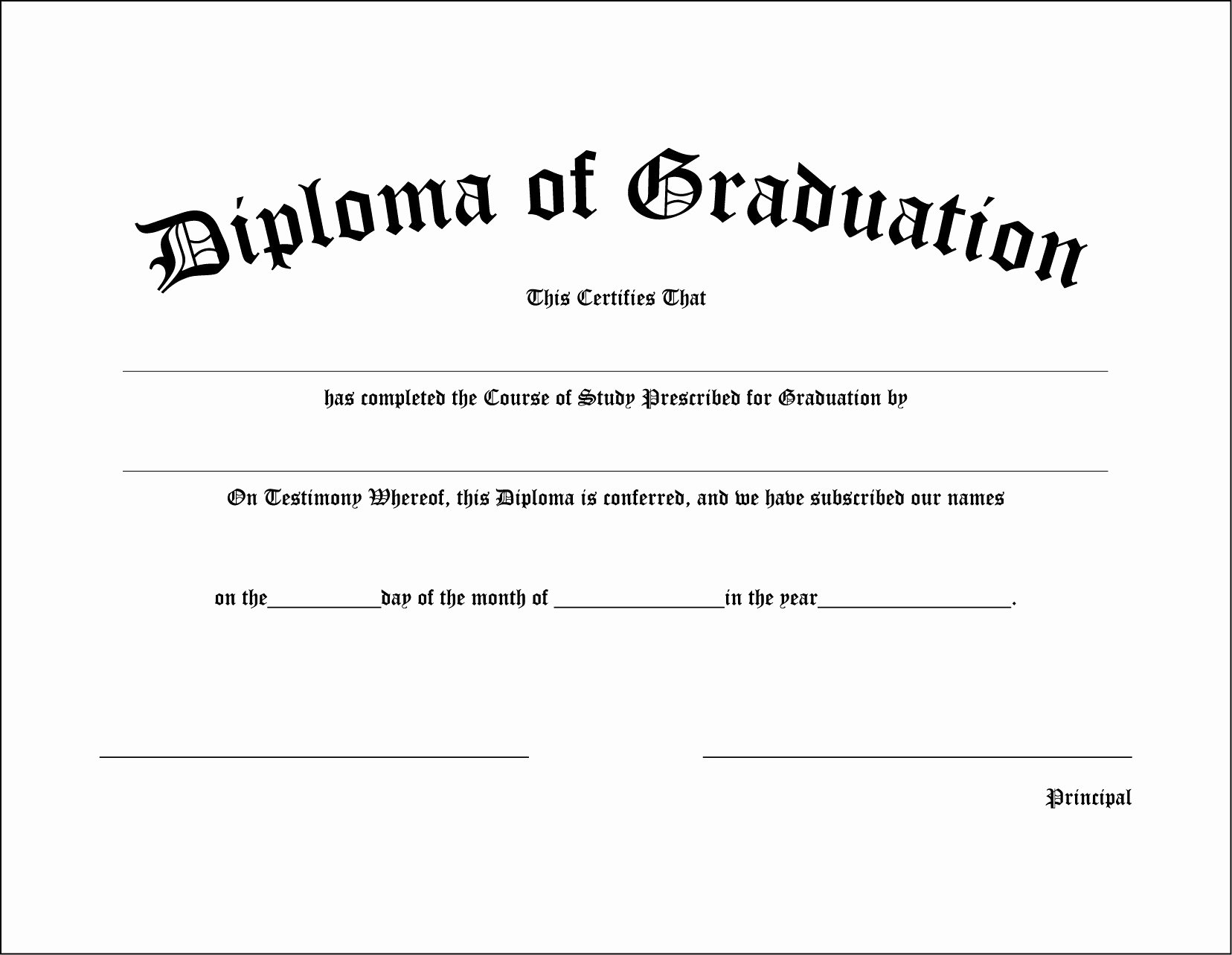 Homeschool Diploma Template Free Awesome High School Graduation Diploma
