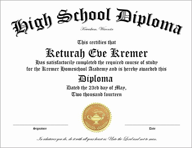 Homeschool Diploma Template Free Fresh 60 Free High School Diploma Template Printable