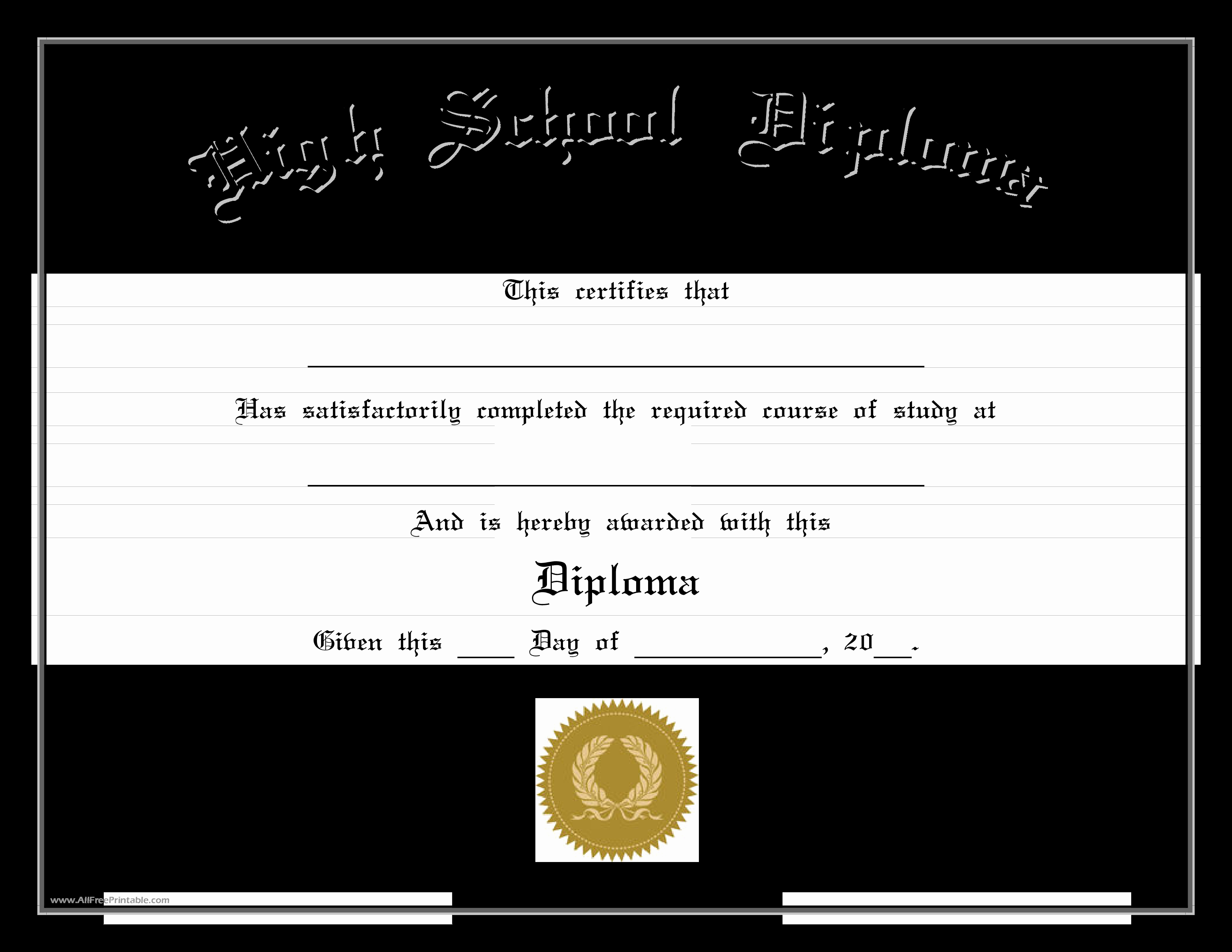 Homeschool Diploma Template Free Inspirational Free High School Diploma Edit
