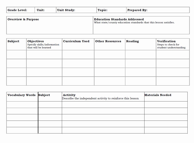 Homeschool Lesson Plan Template Elegant Unit Study Lesson Plan Template