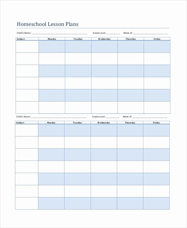 Homeschool Lesson Plan Template Inspirational Printable Lesson Plan 7 Free Word Pdf Documents