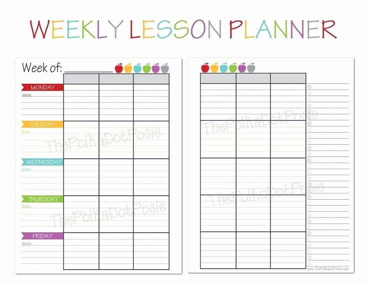 Homeschool Lesson Plan Template Lovely the Polka Dot Posie New Teacher & Homeschool Planners