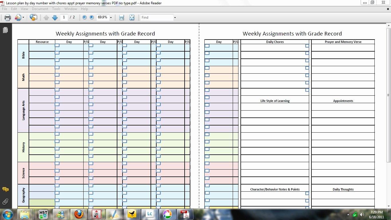 Homeschool Lesson Plan Template New 9 Best Of Homeschool Lesson Planner Printable