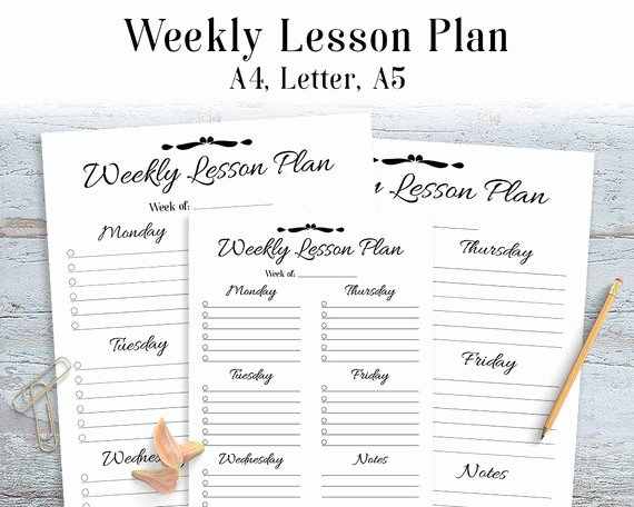 Homeschool Lesson Plan Template New Weekly Lesson Plan Printable Teacher Planner Lesson Plan