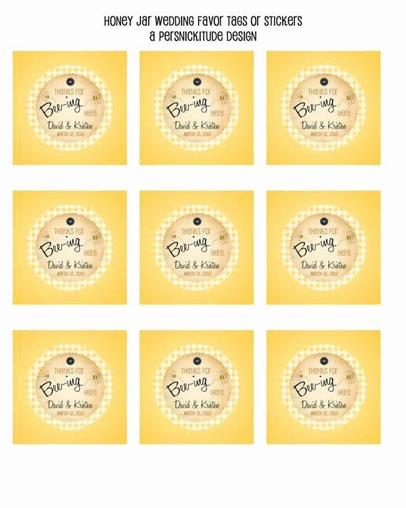Honey Jar Labels Template Beautiful Honey Jar Favor Tags or Labels Diy Printable