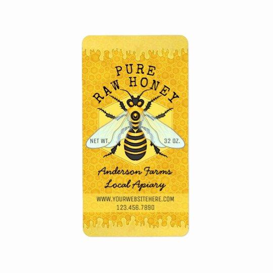 Honey Jar Labels Template Beautiful Honeybee Honey Jar Apiary Labels Honey B Bee