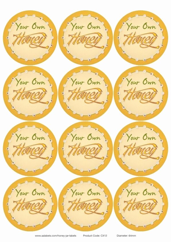 """Honey Jar Labels Template Inspirational """"ode to the Honey Bee"""" Honey Jar Lid Labels You Can Edit"""