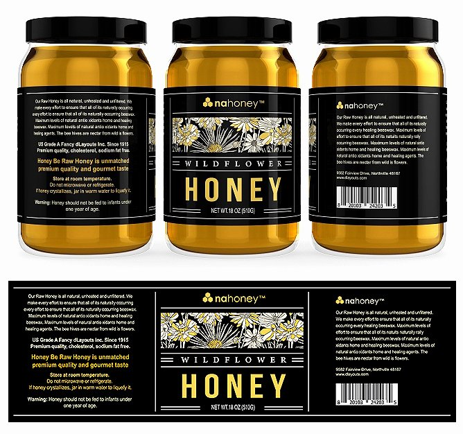 Honey Jar Labels Template Luxury Wild Flower Honey Labels Template Design
