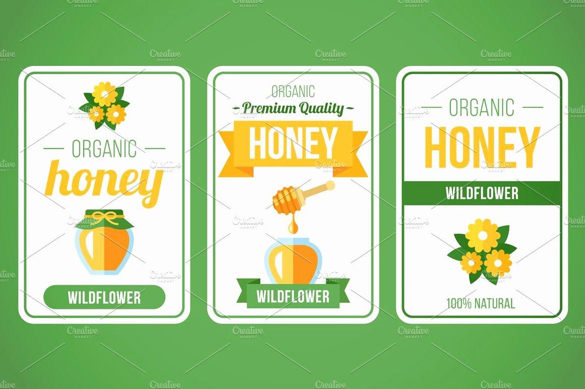 Honey Jar Labels Template New Honey Label Set Templates Creative Market