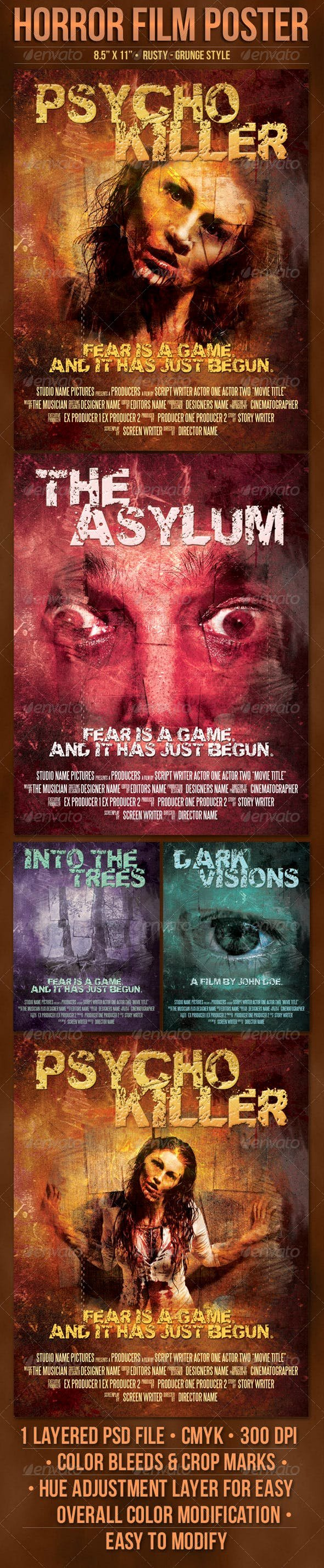 Horror Movie Poster Template Lovely Psycho Horror Poster Template by Doppelgangers