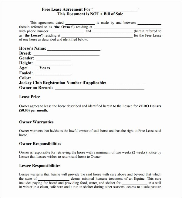 Horse Boarding Agreement Template Awesome 10 Horse Lease Agreement Templates