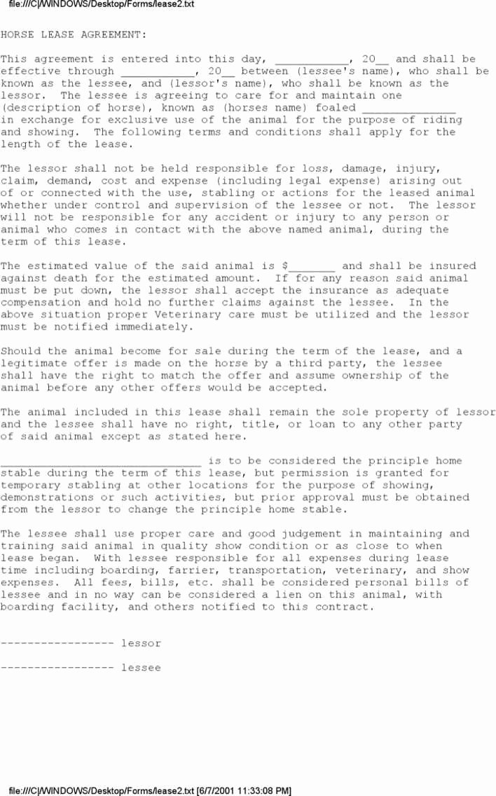 Horse Boarding Agreement Template Awesome Download Equine Lease Agreement for Free