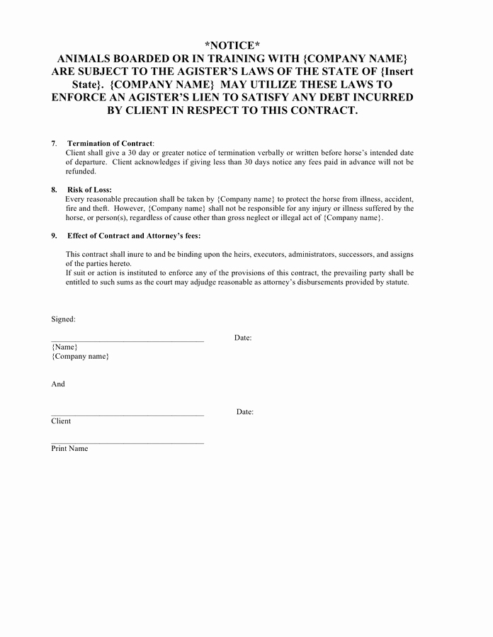 Horse Boarding Agreement Template Fresh Equine Boarding and Training Contract In Word and Pdf