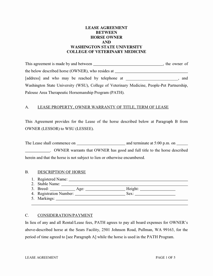 Horse Boarding Agreement Template Inspirational Horse Partnership Agreement