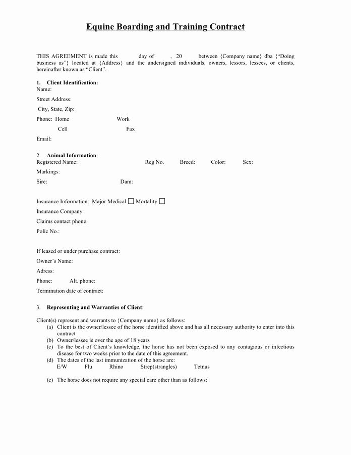 Horse Boarding Agreement Template Luxury Equine Boarding and Training Contract In Word and Pdf formats