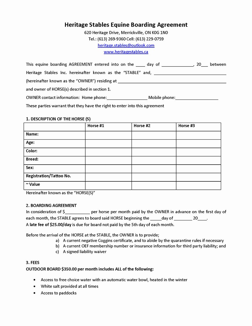 Horse Boarding Agreement Template New Simple Horse Boarding Agreement Template Fresh See Also