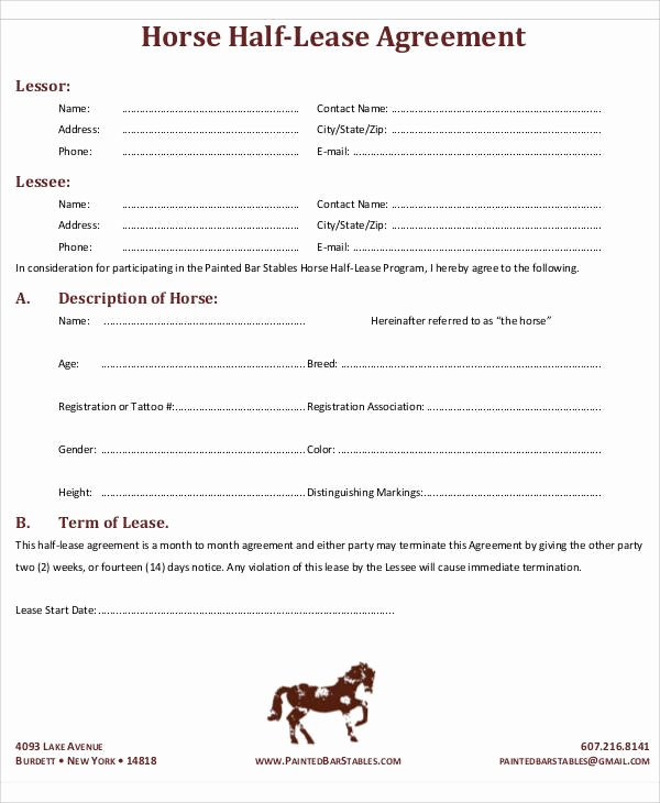 Horse Lease Agreement Template Awesome 50 Lease Agreements In Pdf