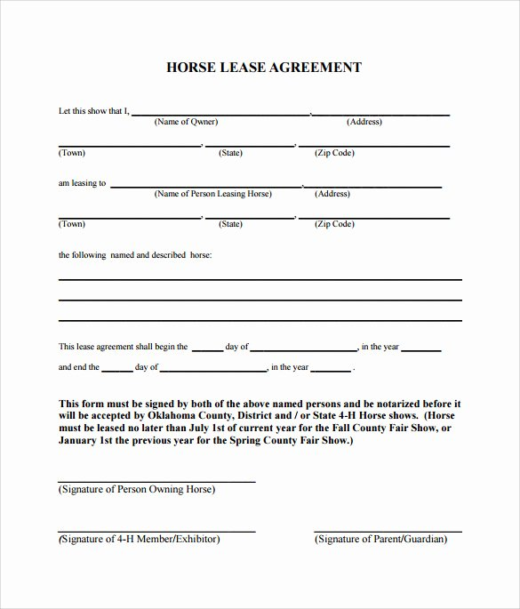 Horse Lease Agreement Template Fresh 10 Horse Lease Agreement Templates