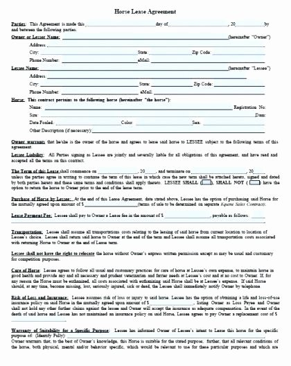 Horse Lease Agreement Template Fresh Downloadable Horse Lease Agreement Free Template Sample