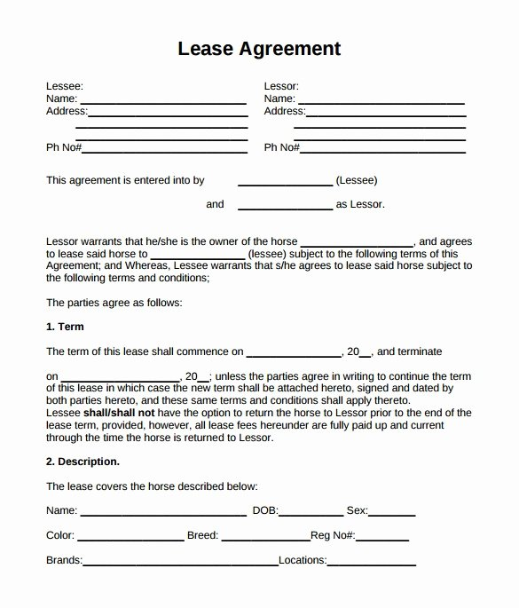 Horse Lease Agreement Template Fresh Horse Lease Agreement Resume Template Sample Full Time