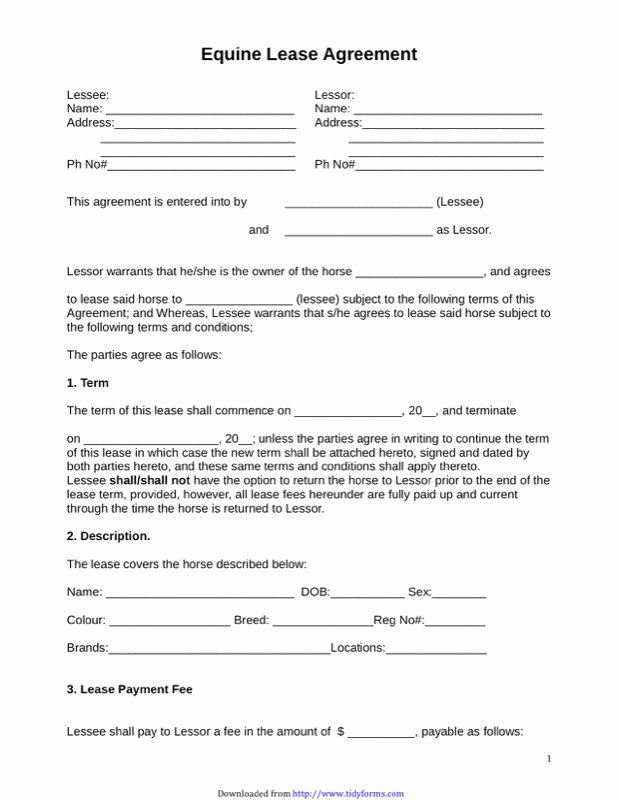 Horse Lease Agreement Template Lovely Horse Lease Agreement