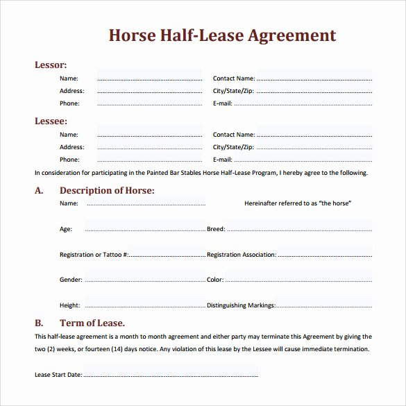 Horse Lease Agreements Template Elegant 8 Sample Horse Lease Agreements