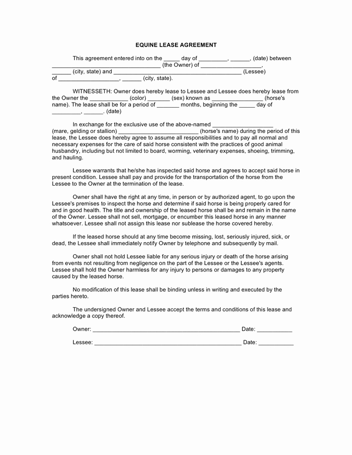 Horse Lease Agreements Template Inspirational Horse Lease Agreement Free Documents for Pdf