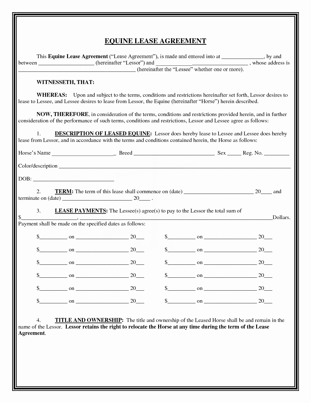 Horse Lease Agreements Template New 13 Best Of Horse Lease Agreement form Free Horse