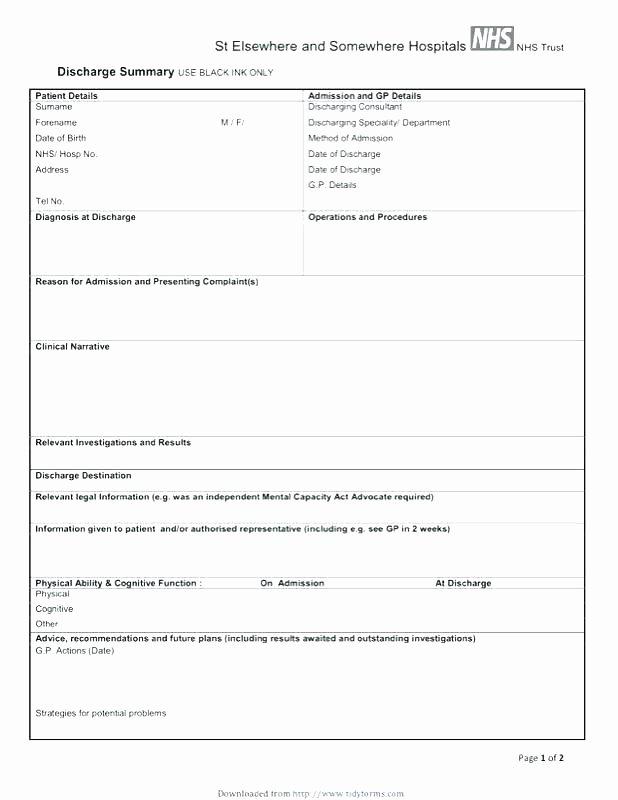 Hospital Discharge form Template Elegant Diagnosis Letter Template – Platforme