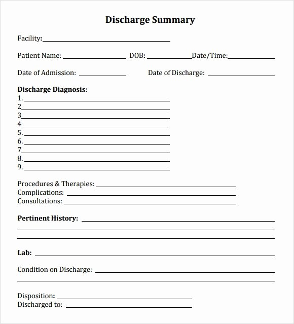 Hospital Discharge form Template Elegant Discharge Summary Template