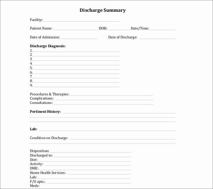 Hospital Discharge form Template Luxury 27 Sample Summary Templates Pdf Doc