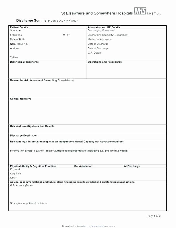 Hospital Release form Template Beautiful Hospital Admission form Template Also Discharge Summary