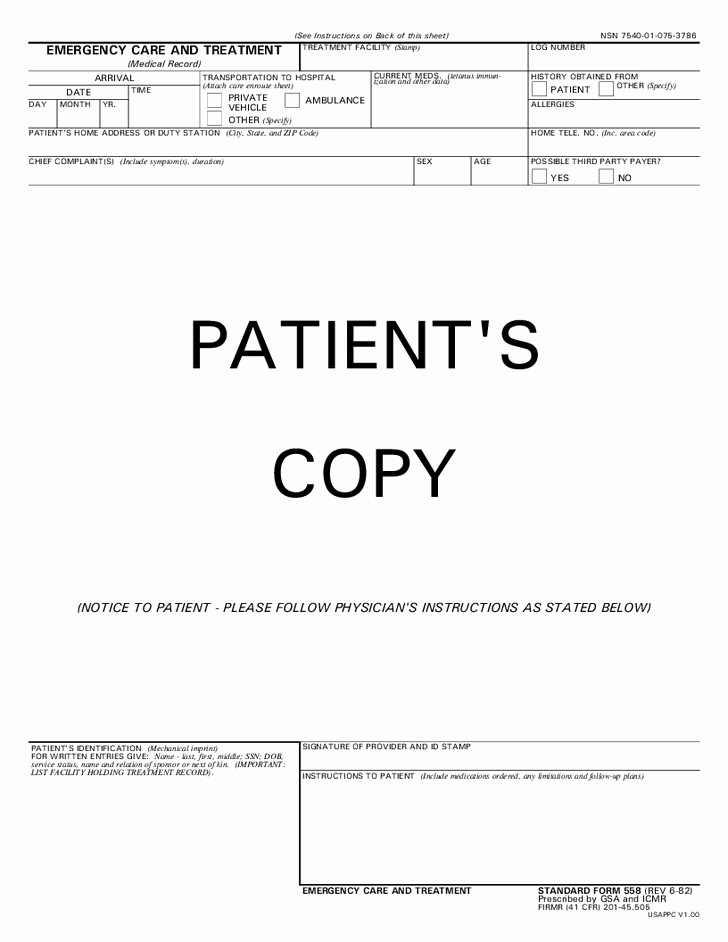 Hospital Release form Template Inspirational 26 Of Free Emergency Room Template