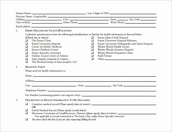 Hospital Release form Template Lovely 12 Hospital Release forms to Download for Free