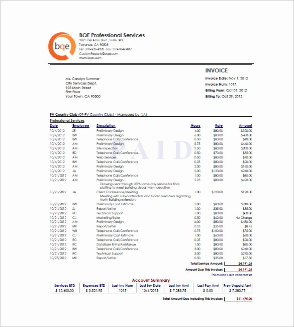 Hourly Invoice Template Excel Elegant Hourly Invoice Template 5 Free Word Excel Pdf format