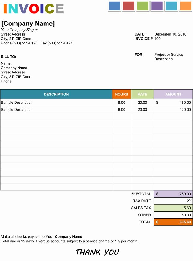 Hourly Invoice Template Excel Fresh 15 Hourly Service Invoice Templates In Excel Word and Pdf