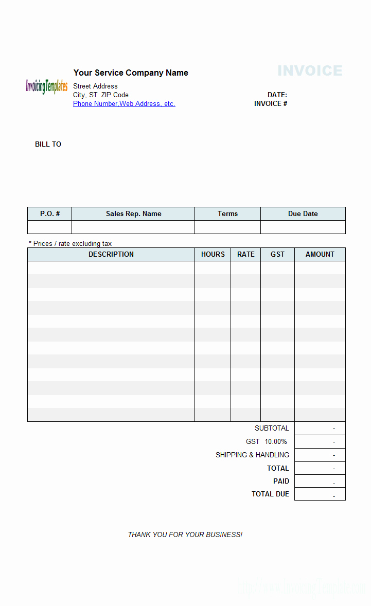 Hourly Invoice Template Excel Fresh Contractor Invoice Templates Free 20 Results Found