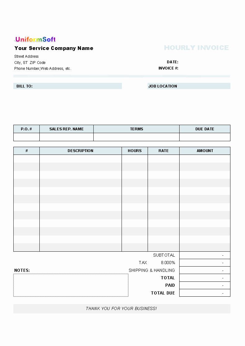 Hourly Invoice Template Excel Fresh Hourly Invoice form Uniform Invoice software