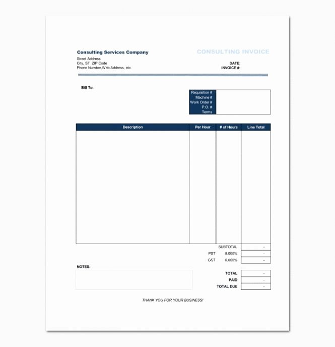 Hourly Invoice Template Excel Inspirational 53 Hourly Invoice Template Excel