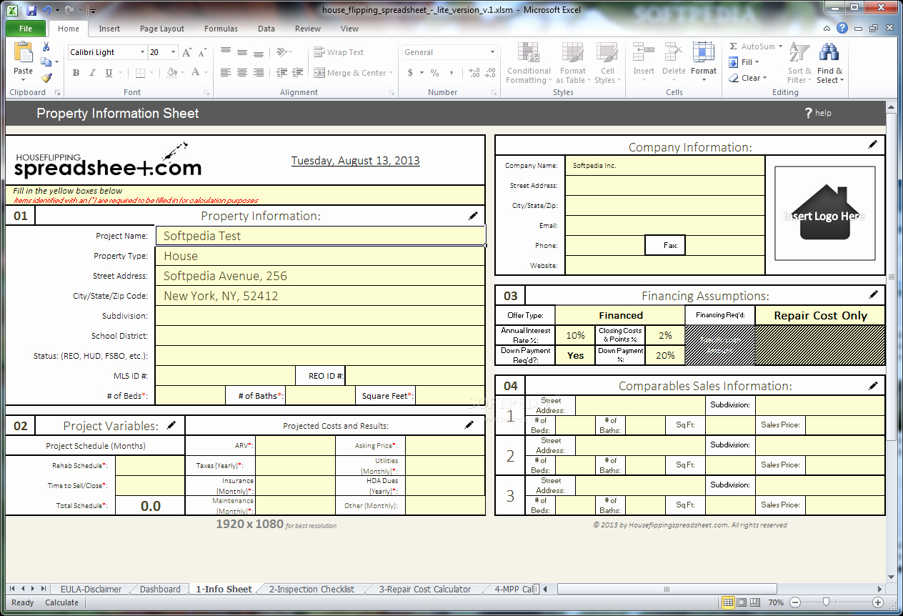 House Flipping Excel Template Beautiful Download House Flipping Spreadsheet 1
