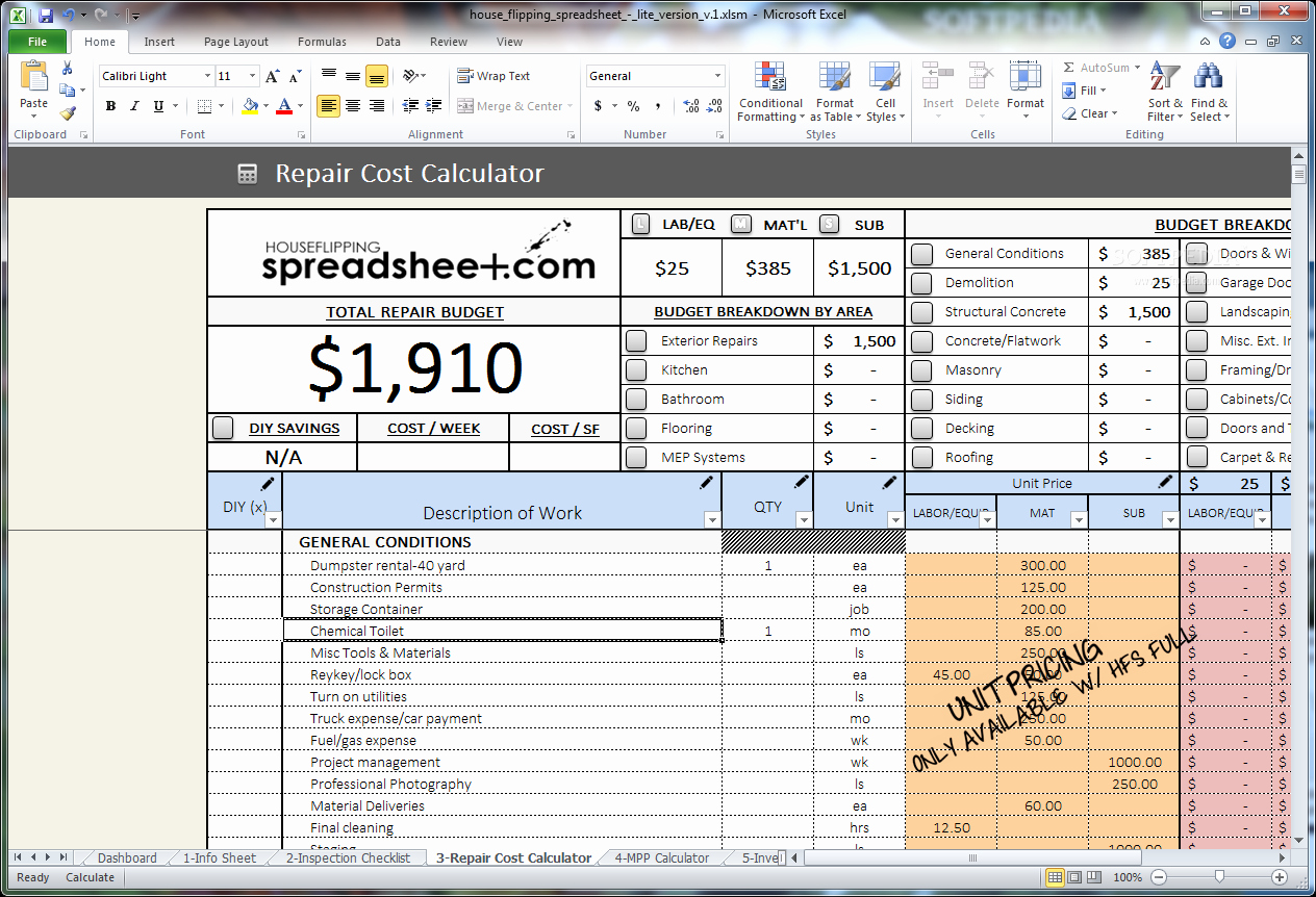 House Flipping Excel Template Fresh Download House Flipping Spreadsheet 1
