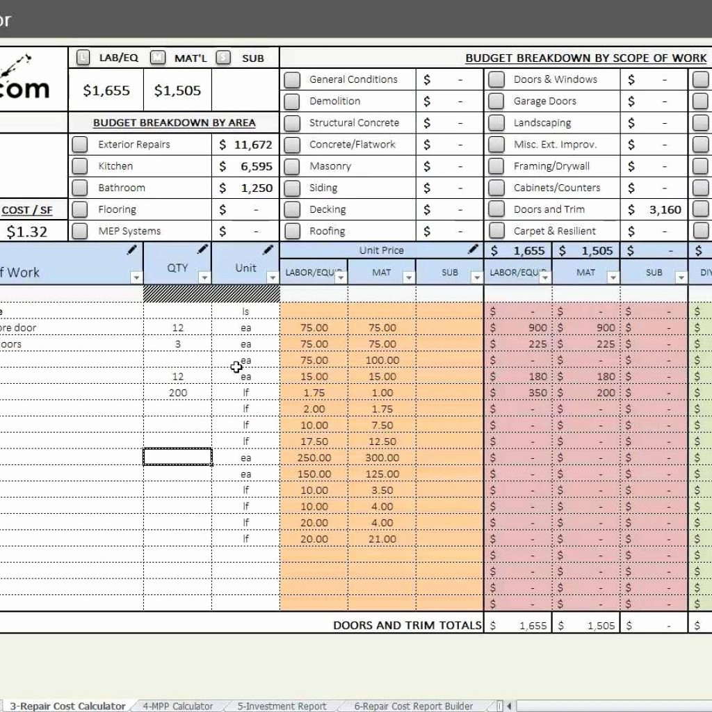 House Flipping Excel Template Fresh House Flipping Spreadsheet Free Download Spreadsheet