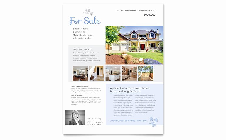 House for Sale Template New Real Estate Listing Flyer Template Word & Publisher